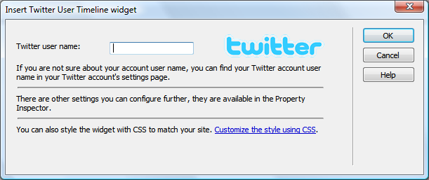 Insert Twitter user timeline extension dialog